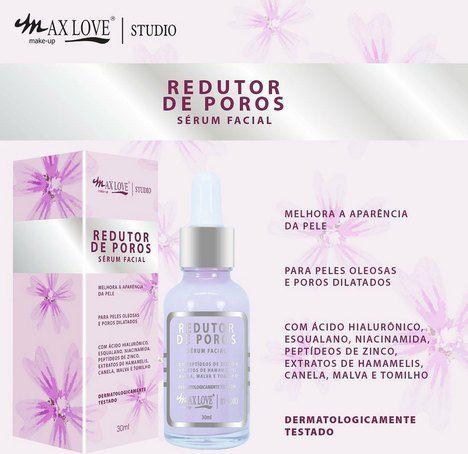 Serum Facial Redutor de Poros Peles Oleosas Dilatados Max love