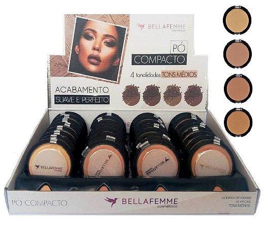 Pó Facial Compacto Cores Médias Bella Femme BF10006-B ( 32 Unidades )