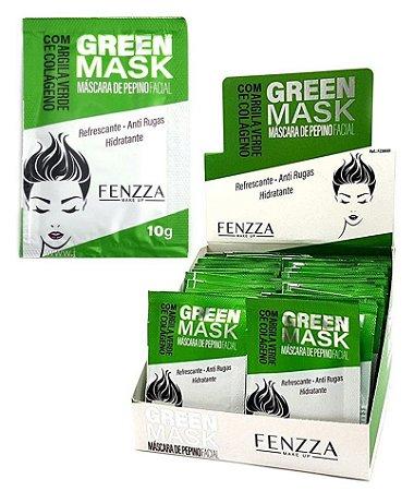 Máscara Facial Anti Rugas Pepino Green Mask Sachê 10g Fenzza FZ38001 - Kit com 50 Unidades