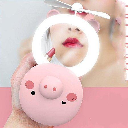 Mini Espelho Led e Ventilador Portátil Porquinho - Kit com 5 Unid