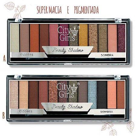 Paleta de Sombras com 12 cores Foscas e Cintilantes Shadow City Girl CG160 - DIsplay com 24 Unidades
