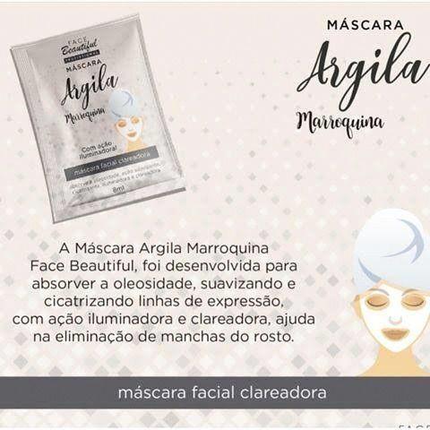 Face Beautiful - Máscara Facial Iluminadora Argila MArroquina - Kit c/ 5 Unid