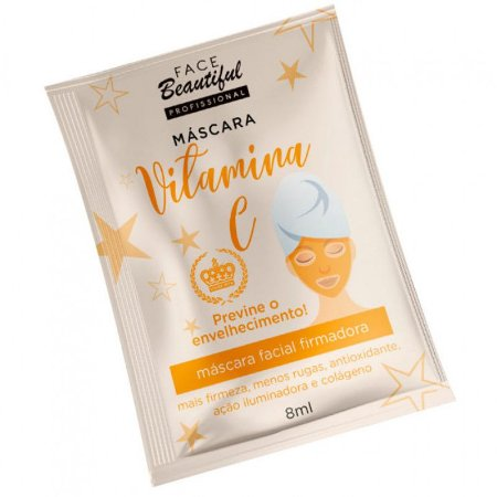 Máscara Facial Vitamina C com Colágeno Sachê 10ml Face Beautiful - Kit com 5 Unid