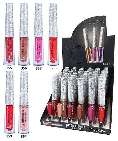 Batom Líquido Shine Kisses Glitter Ruby Rose HB8223 Group 01 – Box c/ 36 unid