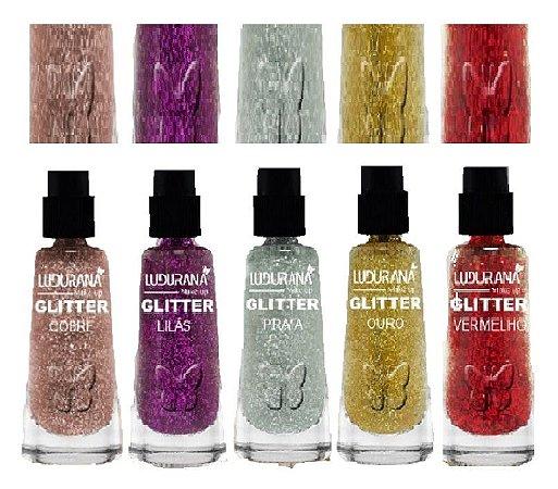 Ludurana - Sombra Glitter Solto em Pó - Kit com 30 Unidade ( 6 de cada cor )