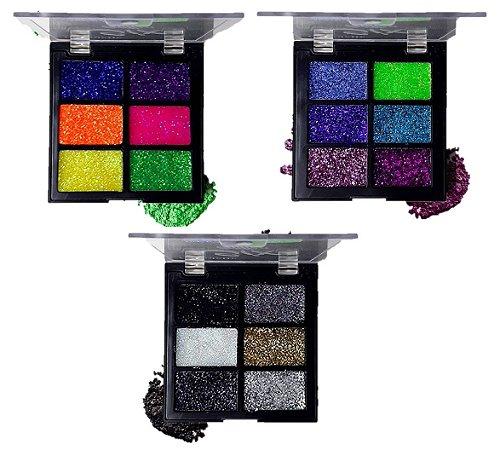 Paleta de Glitter Chandelle Coleção B (  Cores 2, 4 e 6 ) - Kit com 3 Unidades