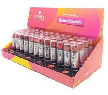 Batom Matte Tons Coloridos Shines - Display com 48 Unidades e Provadores