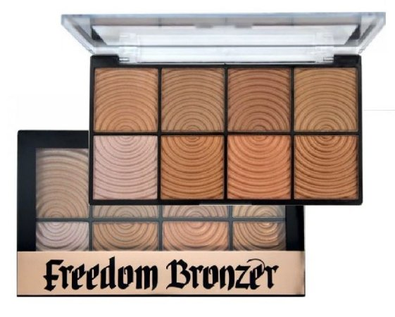 Paleta Bronzer Freedom 8 Cores Ruby Rose HB7216 - Display com 12 Unidades