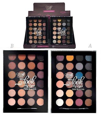 Paleta de SOmbras Look My Eyes City Girl CG130 - Display com 12 Unidades