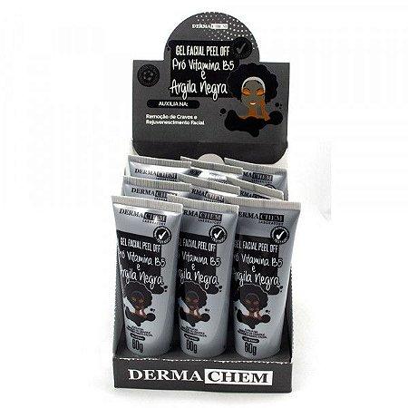 Gel Facial Peel Off Pró Vitamina B5 e Argila Negra Dermachem Laboratory - Display com 9 unidades