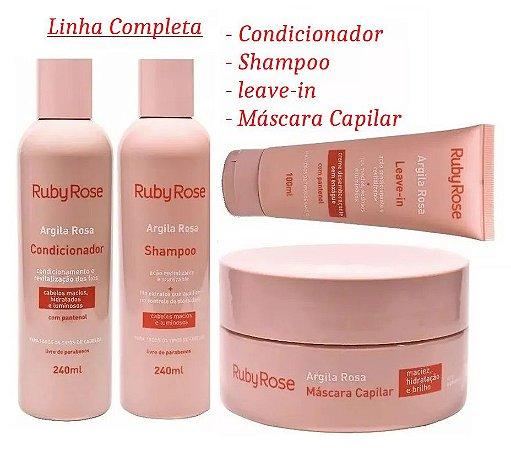 Ruby Rose - Kit Tratamento Capilar Argila Rosa - Kit com Shampoo, Condicionador, Leave-In e Máscara Capilar