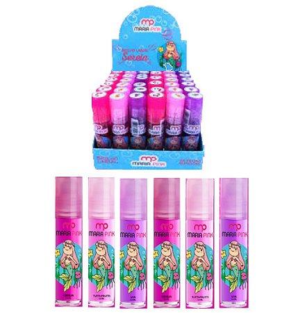 Brilho Labial Sereia Frutas Maria Pink MP10011 - Kit com 36 Unidades