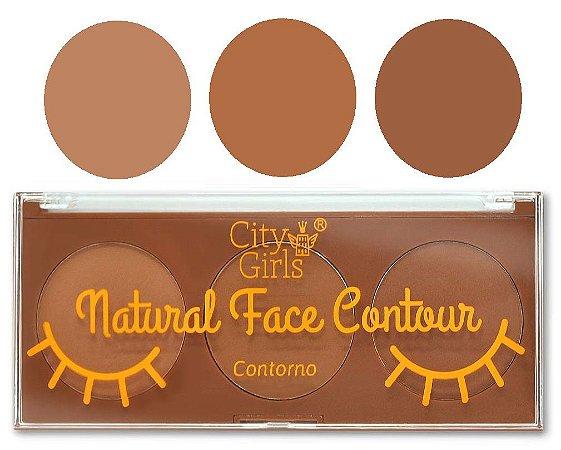 Paleta de Pó de Contorno Facial Natural Face Contour City Girls CG202 - Display C/ 24 Unid