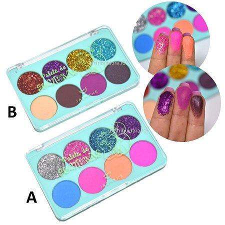 Paleta de SOmbras Matte e Glitter Coruja Jasmyne JS12010 - Kit C/ 2 Unid ( A e B )