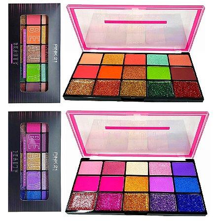 Paleta de Sombras e Glitter Beauty Pink 21 CS2309 - Display C/12 unid