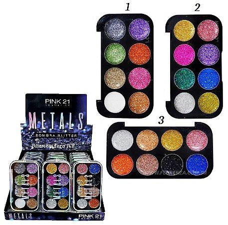 Paleta de Sombras Glitter Metals Pink 21 CS2312 - DIsplay C/24 unid