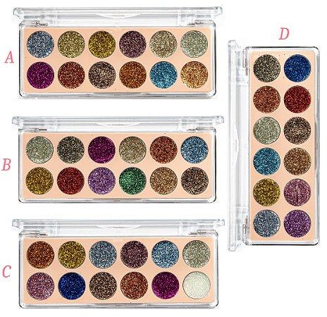 Paleta de Sombra Glitter 12 Cores Vivai 2172 - Kit C/ 4 unidades