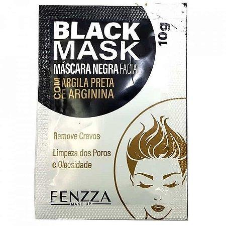 Máscara Facial Preta Removedora de Cravos Black Mask Sachê 10g Fenzza FZ38003 - Kit C/ 5 unid