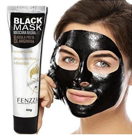 Máscara Facial Preta Removedora de Cravos Black Mask Fenzza FZ38020 Bisnaga  - Display com 24 unid