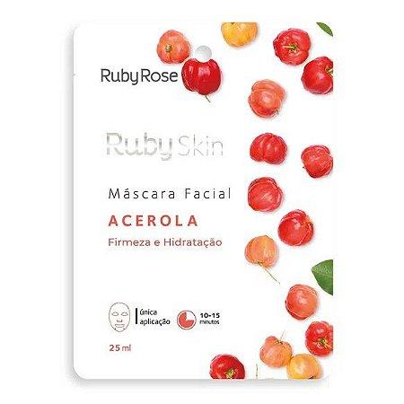 Máscara Facial de Tecido Acerola Firmeza e Hidratação Ruby Rose HB701 - Kit C/24 unid