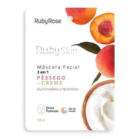 Máscara Facial Pêssego e Creme Ruby Rose HB708 - Kit C/ 24 unid