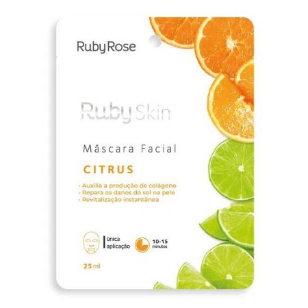 Máscara Facial Citrus Revitalização Instantânea Ruby Rose HB711 - Kit C/ 24 unid
