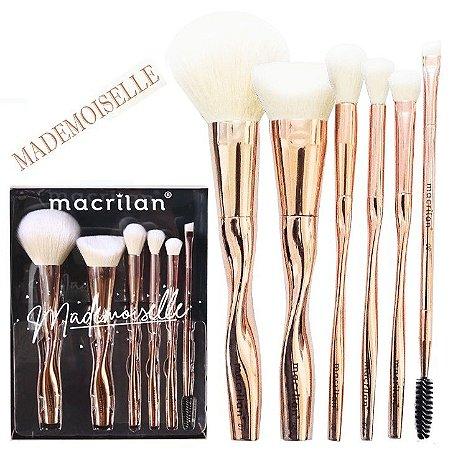 Kit com 6 pincéis para maquiagem Mademoiselle ED004 - ( 03 Kits )