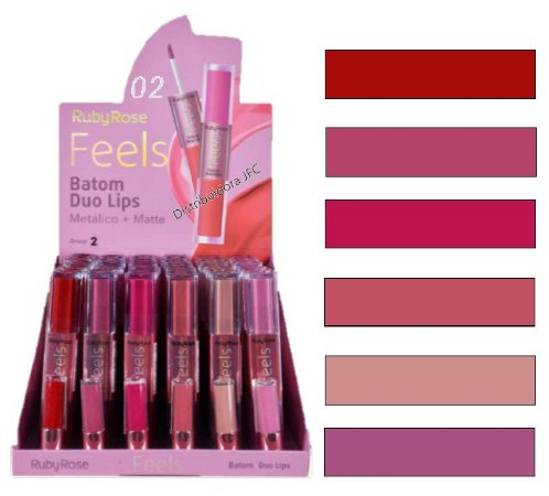 Batom Duo Lips Feels Ruby Rose HB8225-02( 48 Unidades )