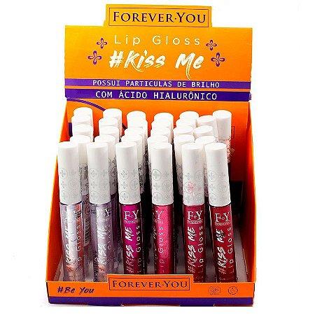 Lip Gloss com Ácido Hialurônico Kiss Me Forever You FY001 - Display com 24 unidades e Prov