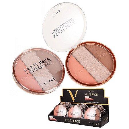 Kit de Maquiagem com Blush, Iluminador e Contorno Multi Face Vivai 1072 - Kit C/12 Unid