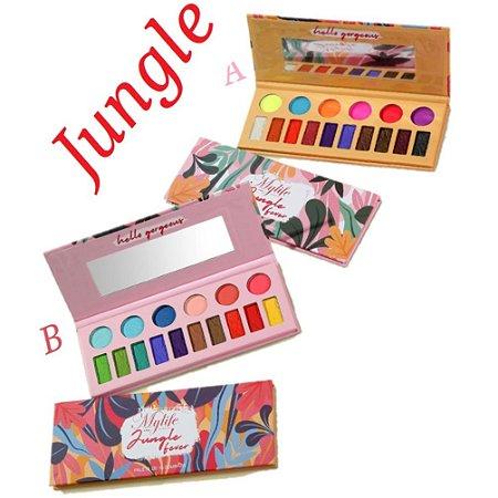 Paleta de Sombras Alta Pigmentação Jungle My LIfe MY8250 A e B - Kit C/ 2 Unidades
