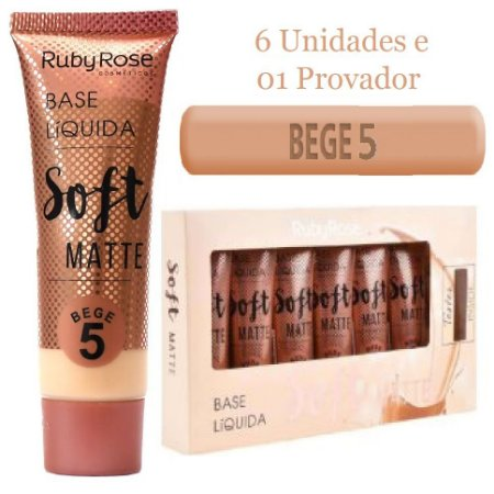 Ruby Rose - Base Soft Matte Bege 5  -Kit C/6 Unid e Prov )