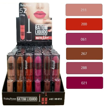 Batom Liquido Matte New Ruby Rose HB8213 ( Group 52 ) - Display C/48 Unid e Prov