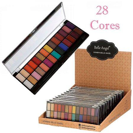 Belle Angel - Paleta de Sombras 28 Cores Colorida T016-02 -  Kit C/ 12 Unidades