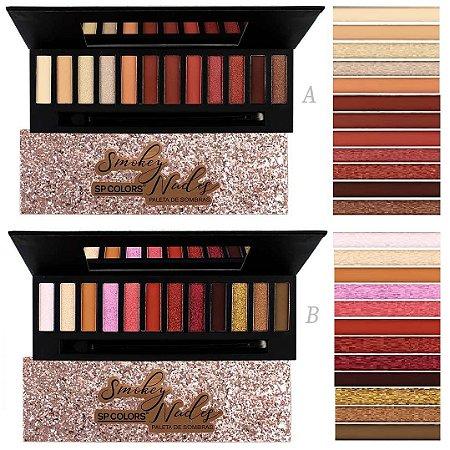 Paleta de Sombras de Luxo Smokey nude SP Colors SP131 A e B - Kit C /12 unid