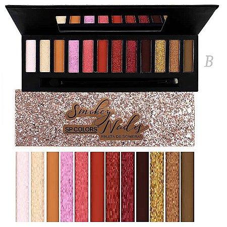 Paleta de Sombras de Luxo Smokey nude SP Colors SP131 - Cor B