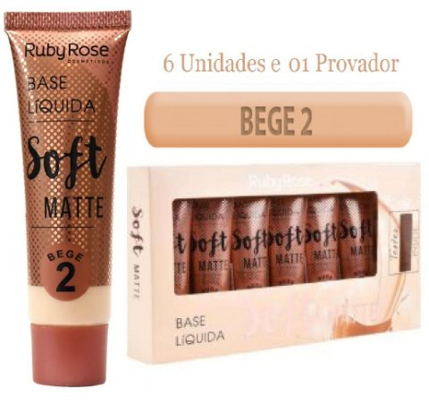 Ruby Rose - Base Soft Matte  Bege 2  ( Kit C/6 Unid e Prov )