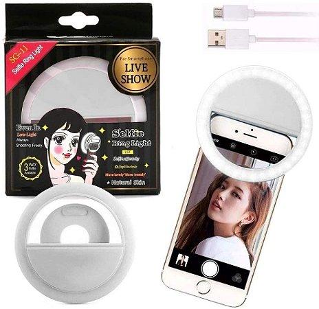 Luz de Selfie Ring Light Celular Tablet Smartphone Recarregável SG11 - Kit C/ 6 Unid