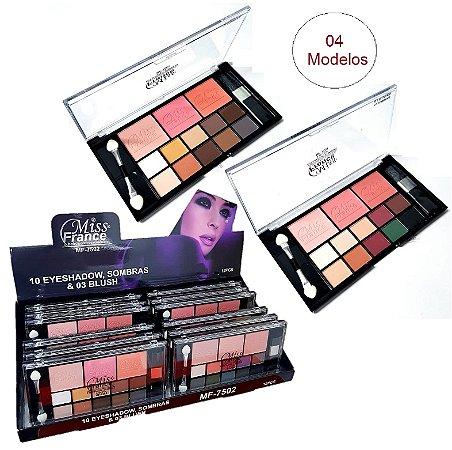 Kit de Maquiagem 10 Sombra + 3 Blush Miss France MF7502 - DIsplay C/12 Unid