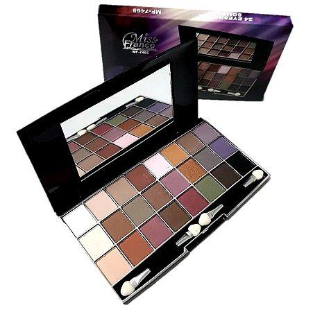 Estojo de Luxo 24 Sombras , Espelho e Pincel Miss France MF7465 - Cor 03