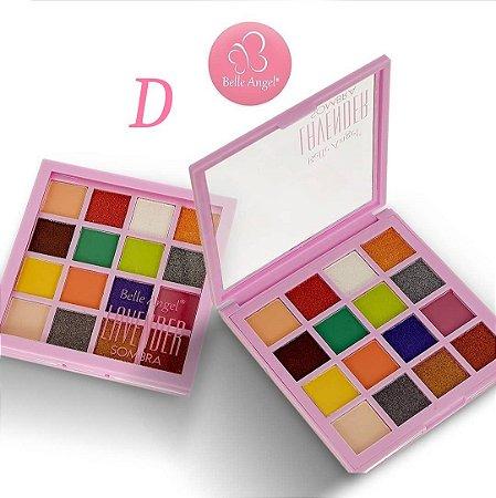 Paleta de Sombras Alta Pigmentação 16 Cores Belle Angel B087 - Cor D