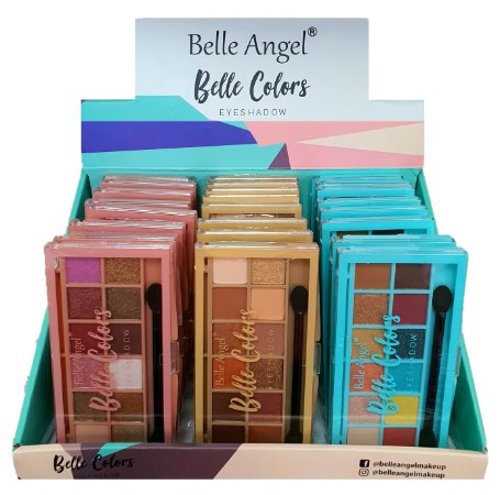 Paleta de Sombras 12 Cores Colors Belle Angel B086 - Display C/ 24 Unid