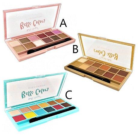 Paleta de Sombras 12 Cores Colors Belle Angel B086 - Kit C/ 03 Unidades