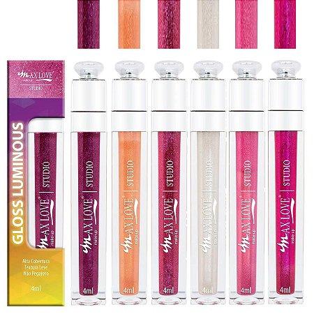 Coleção Gloss Vegano Luminous Max Love Cor 50 a 55 - Kit C/ 6 Unid