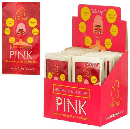 Máscara Facial Peel Off Pink Rosa Mosqueta e Colágeno Belle Angel I017 - Display com 50 unidades