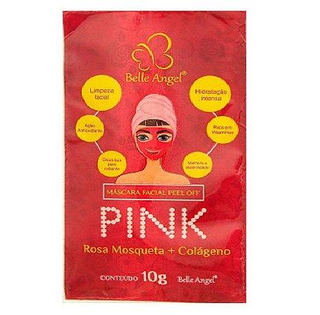 Máscara Facial Peel Off Pink Rosa Mosqueta e Colágeno Belle Angel I017 - Kit C/ 5 Unid
