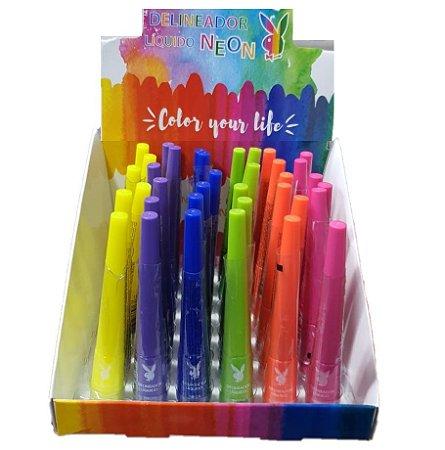Delineador Liquido Neon Colorido Playboy PB1111 - Kit C/ 6 Unid