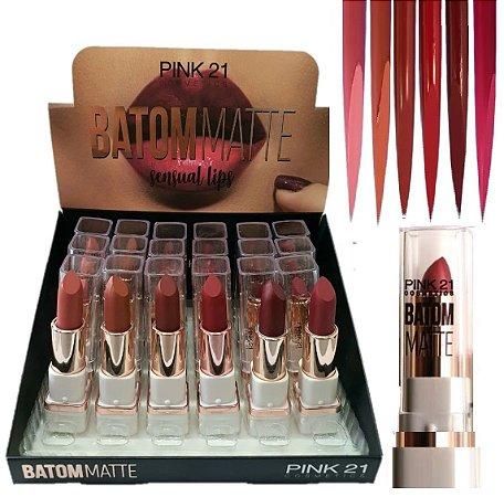 Pink 21 - Batom de Luxo Matte  Sensual Lips 2419-B - Display C/ 24 unid e Prov
