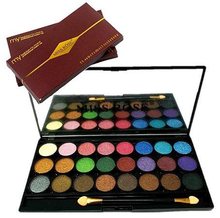 Paleta de Sombras Luxo com Espelho Miss Rose 7001-356 ( M Cor 1 ) - Kit C/ 6 Unid