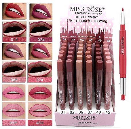 Miss Rose - Batom 2 em 1 Matte  Coleção Z2 - Display C/ 36 Unid